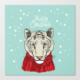 Merry Christmas New Year's card design Tiger head in a red knitted sweater and a scarf. Sketch Canvas Print