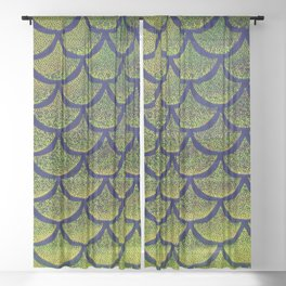 Chartreuse Cobalt Scales Sheer Curtain