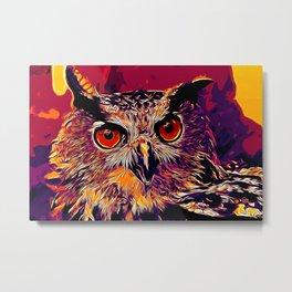 owl strix bird v2 vector art late sunset Metal Print