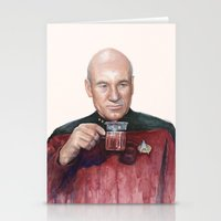 picard Stationery Cards featuring Tea. Earl Grey. Hot. Captain Picard Star Trek | Watercolor by Olechka