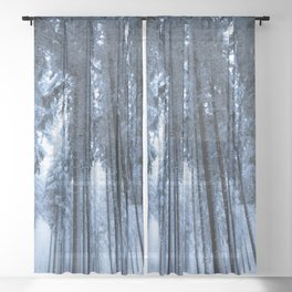 Snowy Winter Trees - Forest Nature Photography Sheer Curtain