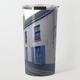 Houses in Bruges with blue Travel Mug