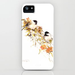 Chickadee bird art, design, chickadees artwork iPhone Case
