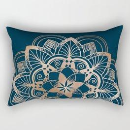 Lotus metal mandala on blue Rectangular Pillow
