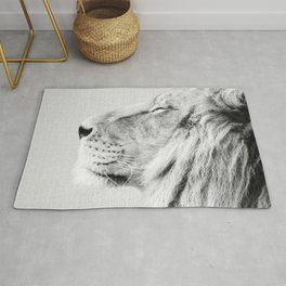 Lion Portrait - Black & White Rug