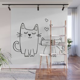 Two little cats, kids room and nursery deco Wall Mural
