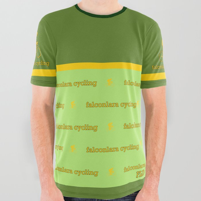 FLD Cycling Green + Yellow Stripe All Over Graphic Tee