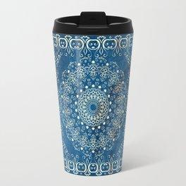 Old Bookshop Magic Mandala in Blue Travel Mug