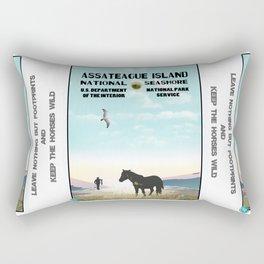 Retro WPA Style Poster Assateague Island Maryland Rectangular Pillow