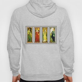 Vintage Art Nouveau Paintings - Birds Hoody