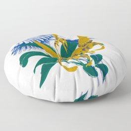 Midnight blooms - Asian paradise fly catcher bird Floor Pillow