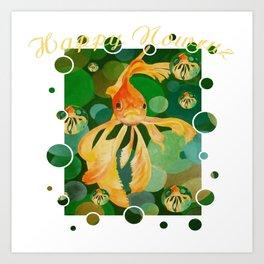 Happy Nowruz Persian New Year Goldfish In Green Sea Art Print