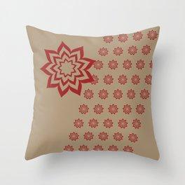 Red 9 Point Star Burst Throw Pillow
