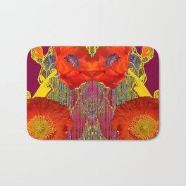 Modern Art Nouveau Orange-Burgundy  Poppy Flowers Bath Mat