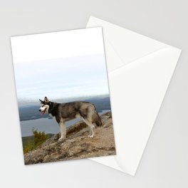 I climbed Mount Major - Siberian Husky Stationery Cards