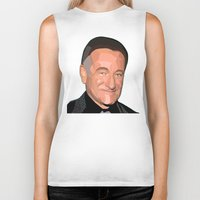 robin williams Biker Tanks featuring A Man In Pieces - Robin Williams Memorial by Designs By Misty Blue (Misty Lemons)