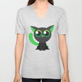 Green Kitty Cat Cute Kids Design Unisex V-Neck