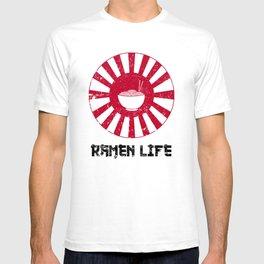 Ramen Life Japanese Noodles Lover Vintage Retro Style Japan Flag T-shirt
