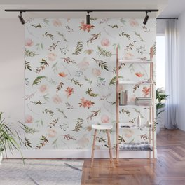 Coral pink green watercolor hand painted floral Wall Mural