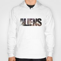 aliens Hoodies featuring Aliens by Jehzbell Black