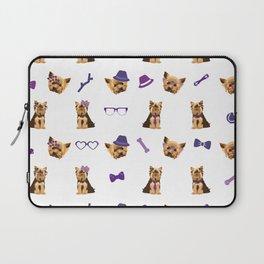 Yorkshire Terrier Pattern Purple Laptop Sleeve
