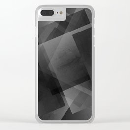 Black and Grey - Digital Geometric Texture Clear iPhone Case
