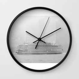 Staten Island Ferry in the fog Wall Clock