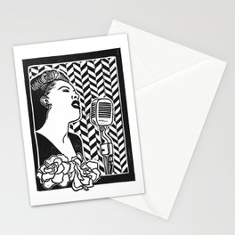 Lady Day (Billie Holiday block print blk) Stationery Cards