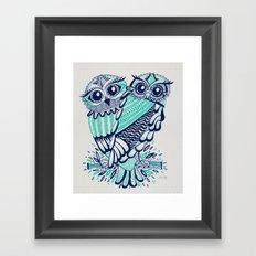 Owls - Turquoise & Navy Framed Art Print