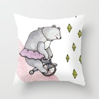 cycling Throw Pillows featuring Cycling Bear by Brooke Weeber