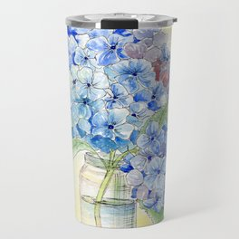 Blue Hydrangea, Still Life Travel Mug