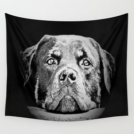 Rottweiler Drawing By Annie Zeno Wall Tapestry