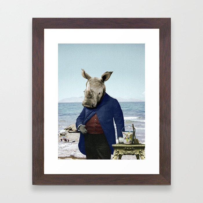 Mr. Rhino's Day at the Beach Framed Art Print