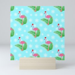Flamingo at winter with snowflakes Mini Art Print