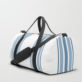 Farmhouse Blue Ticking Stripes on White Duffle Bag