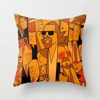 the big lebowski Throw Pillows featuring The Big Lebowski by Ale Giorgini