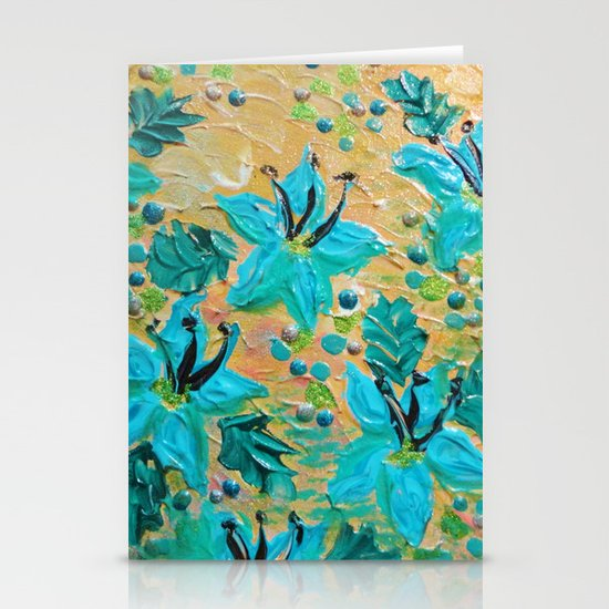 BLOOMING BEAUTIFUL - Modern Abstract Acrylic Tropical Floral Painting, Home Decor Gift for Her Stationery Cards