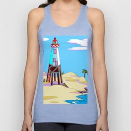 A Lighthouse on the Lazy, Sunny Beach with Palm Trees Unisex Tank Top