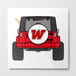 Jeep Wave Back View - Red Jeep Metal Print