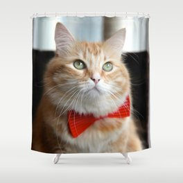 Hobbes in bow tie Shower Curtain