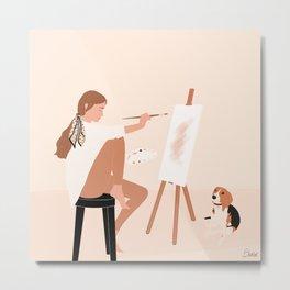 Girl with a Beagle dog Metal Print