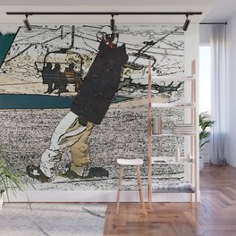 Sliding In - Snowboarder Fool Wall Mural