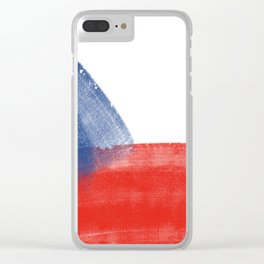 CZECH REPUBLİC FLAG for tote bags and more! İllustration and painting design! Clear iPhone Case