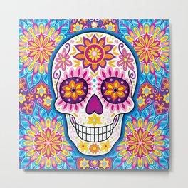 Sugar Skull Art (Inflorescent) Metal Print