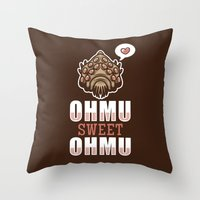 nausicaa Throw Pillows featuring Ohmu Sweet Ohmu by adho1982