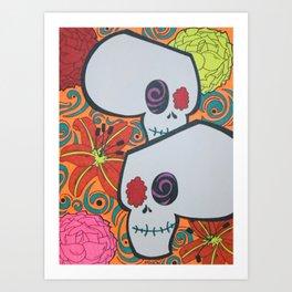 Tiger Lily Skulls Art Print