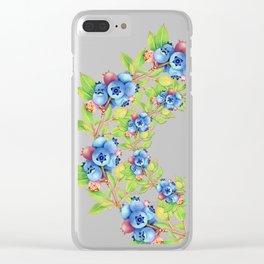 Maine Blueberries Lattice Design Clear iPhone Case