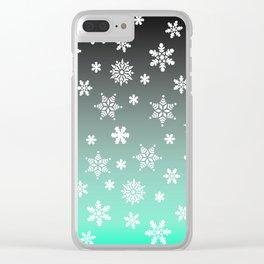 Snow Flurries-Gray/Aqua Ombre Clear iPhone Case
