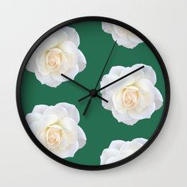 Cream Rose Polka Dot Emerald Wall Clock