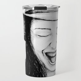 So Amused! Expressions of Happiness Series -Black and White Original Sketch Drawing, pencil/charcoal Travel Mug